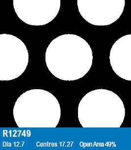 R12749 Perforated Metal Sheet: 12.7mm Round, 49% Open Area